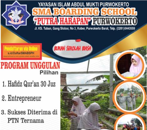 Penerimaan Siswa Baru SMA Boarding School Putra Harapan TA 2021/2022